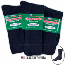 Big & Tall Men's Extra Wide Socks MEDICAL CREW 3-Pack NAVY Size 11-16
