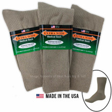Big & Tall Men's Extra Wide Socks MEDICAL CREW 3-Pack TAN Size 11-16