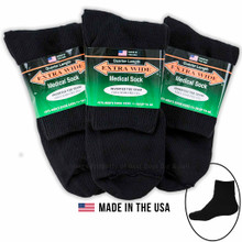 Big & Tall Men's Extra Wide Socks MEDICAL QUARTER 3-Pack BLACK Size 11-16