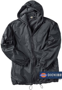 Big Men's Dickies Hooded Nylon Jacket Fleece Lined 2XL - 5XL Charcoal
