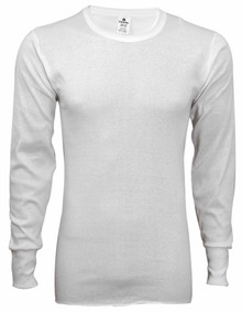 White Thermal Long Johns Underwear SHIRT Rib Knit