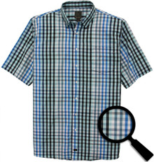 F/X Fushion casual shirt for big and tall - Aqua checkered