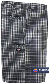 Big Men's Dickies Multi-Pocket Gray/White Plaid Shorts