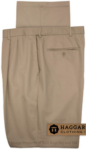 Khaki Pleated Pants by Haggar for Big & Tall Men