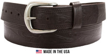 big men's brown western leather belt