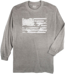 Gray Long Sleeve Printed T-Shirt AMERICAN FLAG