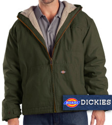 Olive Dickies Heavy Hooded Jacket Warm Sherpa Lining