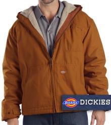 Brown Dickies Heavy Hooded Jacket Warm Sherpa Lining