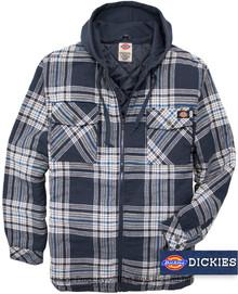Dickies Hooded Flannel Shirt Jacket Navy