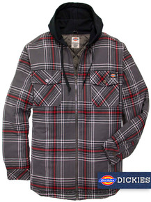 Charcoal Dickies Hooded Flannel Shirt Jacket