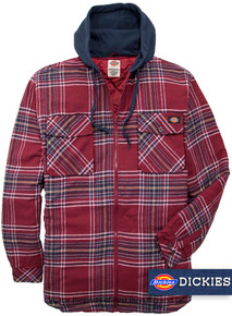 Red Dickies Hooded Flannel Shirt Jacket