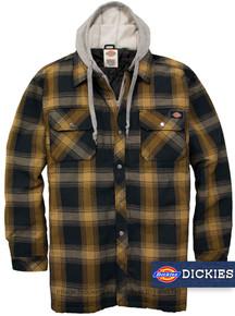 NAVY Brown Dickies Hooded Shirt Jacket Snap-Zip Closure