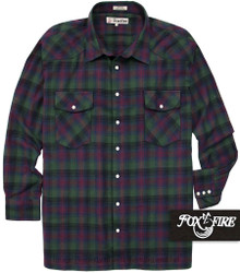 Green plaids Foxfire Western Flannel Shirt