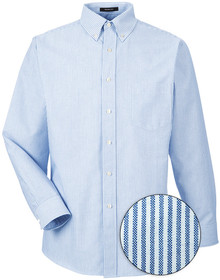 Blue White Stripes UltraClub Long Sleeve Oxford Shirt