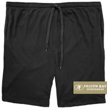 Black Jersey Shorts with Outside Drawstring by Falcon Bay