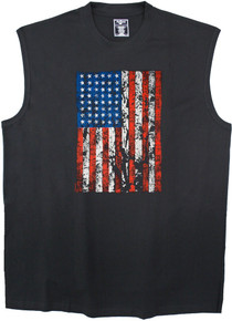 Black printed muscle tee - red white blue  American flag