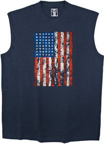 Navy printed muscle tee - red white blue  American flag