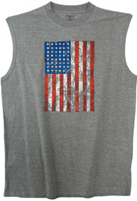 Gray printed muscle tee - red white blue  American flag