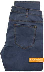Medium Blue Savane Stretch Denim Jeans Comfort Waist Pants