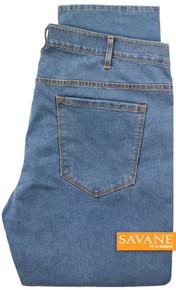 Light Blue Savane Stretch Denim Jeans Comfort Waist Pants