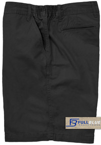 Black Casual Cotton Shorts Expandable Waist