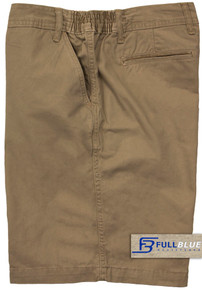 Khaki Casual Cotton Shorts Expandable Waist