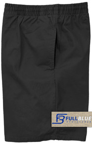 Black Pull-On Cotton Shorts Full Elastic Waist by Full Blue