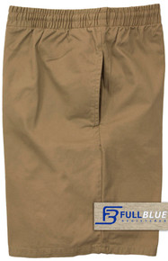 Khaki Pull-On Cotton Shorts Full Elastic Waist by Full Blue