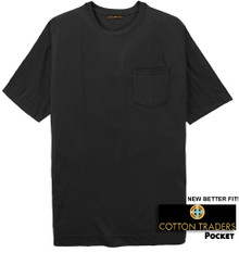 Black Cotton Traders Premium Pocket T-Shirt - Better Fit