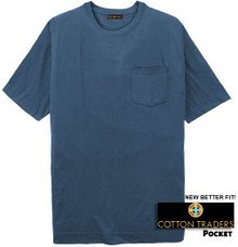 Dark Blue Cotton Traders Premium Pocket T-Shirt - Better Fit