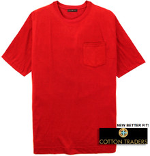Red Cotton Traders Premium Pocket T-Shirt - Better Fit