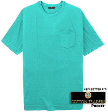 Aqua Cotton Traders Premium Pocket T-Shirt - Better Fit