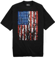 NewportXL Printed T-Shirt LARGE AMERICAN FLAG 3XL - 7XL 2XLT - 5XLT Black