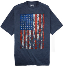 Heather Blue T-shirt with Large American Flag print Big & Tall