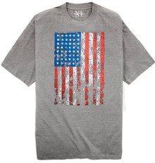 Gray T-shirt with Large American Flag print Big & Tall