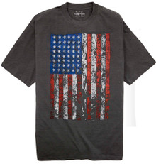Charcoal T-shirt with Large American Flag print Big & Tall