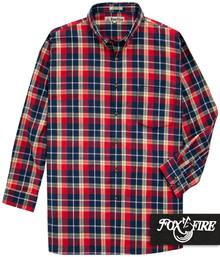 Foxfire Soft Flannel Shirt RED/Navy Plaids 2XB - 6XB 2XLT - 6XLT #475A