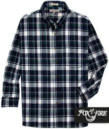 Navy green flannel plaid shirt by Foxfire