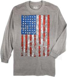 Heather Gray NewportXL Long-Sleeve Printed T-Shirt LARGE FLAG
