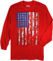 Red NewportXL Long-Sleeve Printed T-Shirt LARGE FLAG
