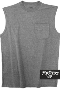Gray Foxfire POCKET Muscle Tee