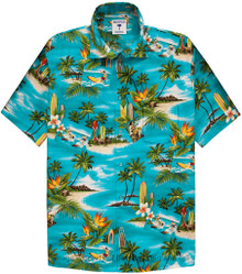 Aqua Green Surf Paradise Hawaiian Shirt by Proper Tropics