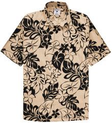 Beige Tan Floral Hawaiian Shirt by Proper Tropics