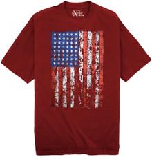 Burgundy NewportXL Printed T-Shirt LARGE AMERICAN FLAG