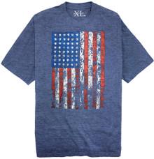 Heather Royal NewportXL Printed T-Shirt LARGE AMERICAN FLAG