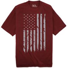 NewportX Printed T-Shirt LARGE GRAY FLAG Burgundy