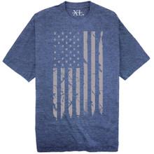 NewportX Printed T-Shirt LARGE GRAY FLAG Heather Royal