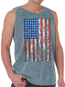 LARGE FLAG Printed Tank Top HEATHER BLUE