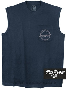 Navy Foxfire Coastal Print POCKET Muscle Tee