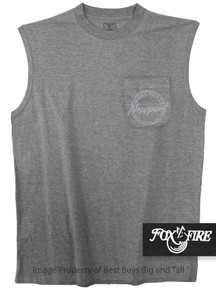Gray Foxfire Coastal Print POCKET Muscle Tee